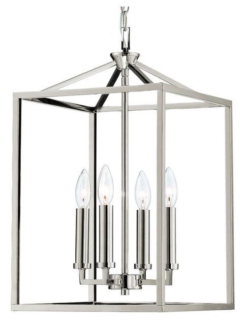 gerard 4 light foyer candle chandelier lantern polished nickel - Candle Chandelier
