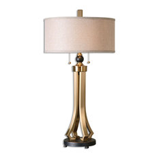 Uttermost 26631-1 Selvino 2 Light Table Lamp - Brushed Brass with Oil Rubbed