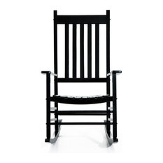 Aosom - Outsunny Porch Rocking Chair, Outdoor Patio Wooden Rocking Chair, Black - Outdoor Rocking Chairs