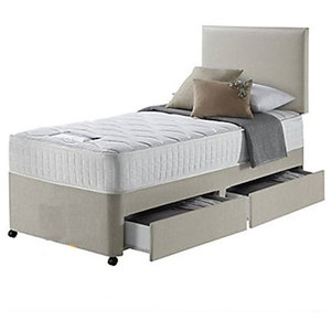 Single Bed Set in Beige Finished Fabric with Mattress, Headboard and Side Drawer