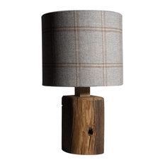 Rustic Beam Table Lamp, Blue Tweed