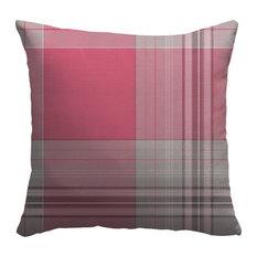 """Pink Tartan Plaid Tweed"" Pillow 16""x16"""
