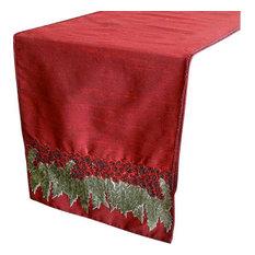 Designer, Decorative Table Runners; Red, Green, Maroon; 40 x 270 cm; Silk