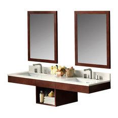 "Ronbow 61"" Adina Solid Wood Double Wall Mount Vanity Set, Dark Cherry"