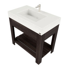 "36"" Lavare Vanity With Concrete Ramp Sink and Drawer, White Linen"