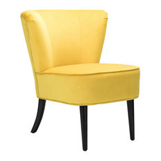 Emille Velvet Armless Wingback Chair Yellow