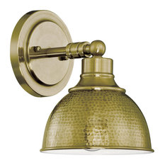 Timarron 1-Light Wall Sconce, Legacy Brass With Hammered Metal