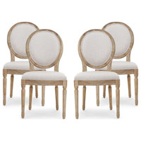 Jerome French Country Dining Chairs, Set of 4, Beige/Natural, Fabric, Rubberwood