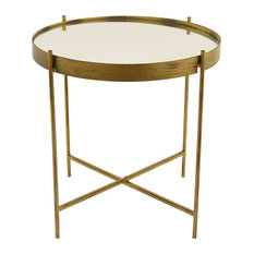 Three Hands Corp Metal Mirrored Table Side Tables And End