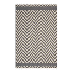 Modway Optica Chevron With End Borders 8'x10' Indoor and Outdoor Area Rug, Gray