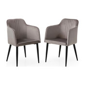 Modern Jason Living Room Accent and Dining  Arm Chair, Set of 2, Grey