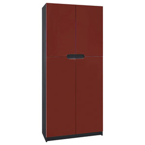 Modern Storage Cabinet, High Gloss Finished MDF, 4-Door, Bordeaux High Gloss