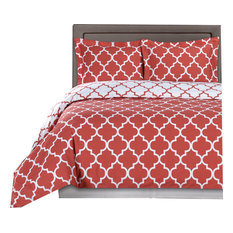 Meridian 100% Cotton Duvet Cover Set, Coral and White, Twin/Twin Xl