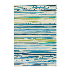 Jaipur Living Sketchy Lines Indoor/Outdoor Abstract Blue/Green Area Rug, 5'x7'6""