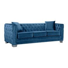 Broadway Velvet Sofa, Light Blue   Sofas