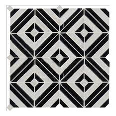 Rhombix Nero Pattern Polished Marble Mosaic, 10-Pieces