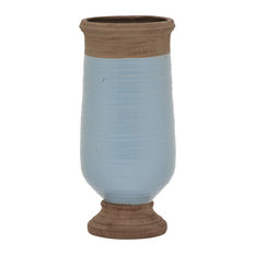 "Three Hands 21.75"" Ceramic Vase, Blue"