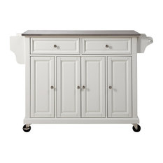 Stainless Steel Top Kitchen Cart/Island, White