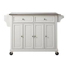 Stainless Steel Top Kitchen Cart/Island, White