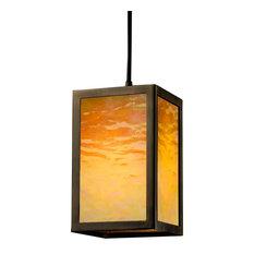 Simple Window Family 1-Light Pendant, Dark Bronze, Amber Glass