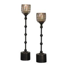 """Lula 25"""" Candleholder, 2-Piece Set, Dark Oil Rubbed Bronze/Gold Amber Spun"""