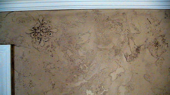 Dining walls - textured and raised fleur de lis then glazed