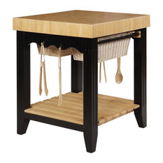 Wooden Square Kitchen Island With Basket Pull Out Drawers Black/Brown