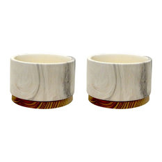 Marble Finish Cement Pot With Wooden Base, Set of 2