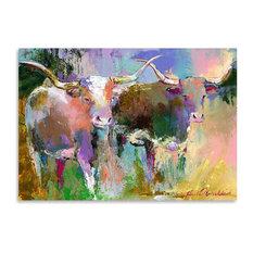 """Texas Longhorns,"" Art Print, 12""x16""x0.1"""