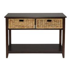 Console Table in Espresso Solid Wood Leg Wood Vene Espresso