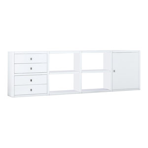 Torero Modular Sideboard With Four Drawers and Cupboard, White