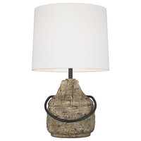 Augie 1-Light Table Lamp in Stone / Aged Iron