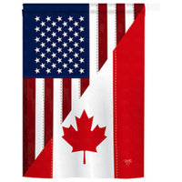 US Canada Friendship 2-Sided Vertical Impression House Flag