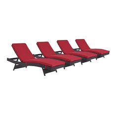 Convene Chaise Outdoor Upholstered Fabric, Set of 4, Espresso Red