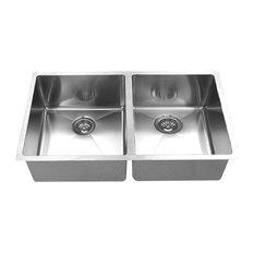 "BOANN Hand Made R15 50/50 Double Bowl 32""x19"" Undermount 304 Sink"