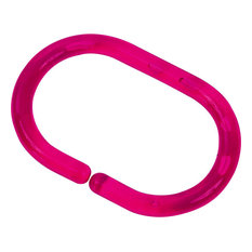 Shower Curtain Rings Plastic Hooks Solid and Clear Set of 12, Clear Fuchsia
