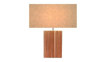 """01-210414 Recycled Teak Collection """"Large Line Teak"""" Table Lamp"""