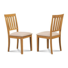 Upholstered Dining Chair in Oak Finish - Set of 2