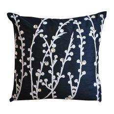 Willow Design 40x40 Art Silk Navy Blue Throw Cushions Cover, Navy Blue Willow