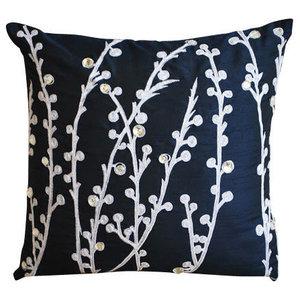 Willow Design 40x40 Art Silk Navy Blue Throw Cushions Cover, Navy Blue Willow
