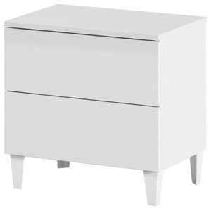 Loft Bedside Table, White, 2 Drawers