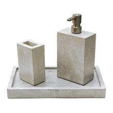 Concrete Bath Set, Natural Concrete