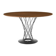 Round Wood Top Dining Table With Steel Pedestal Walnut
