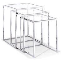 Whiteline Terzi Stainless Steel Set Of 3 Nesting Side Tables ST1388