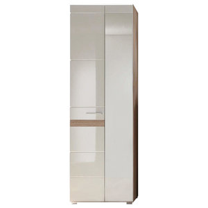 Modern Wardrobe, White and Oak High Gloss Finished MDF With Storage Cupboard