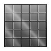 Metal Square Window Pane Wall Mirror With Beveled Edge Metallic, Black
