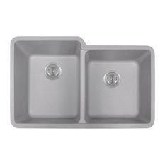 Double Offset Bowl Quartz Kitchen Sink, Silver, No Additional Accessories