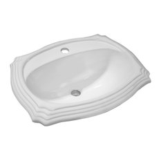 "Vanity Fantasies ""Palm"" Decorative Porcelain Oval Drop-In Vanity Sink, White"