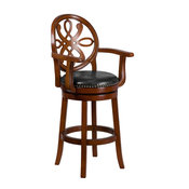 """30"""" Wood Barstool With Arms and Leather Swivel Seat, Brandy"""