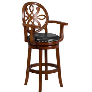 Super 26 Inch Brandy Wood Stool With Arms Carved Back And Black Frankydiablos Diy Chair Ideas Frankydiabloscom